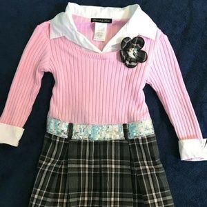 Disorderly Kids Dress Pink Gray Plaid Girls Size 6